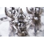 Serwis Kawowo – Herbaciany Fornari, 6-element., rzymski, srebrny, złocony – eklektyczny