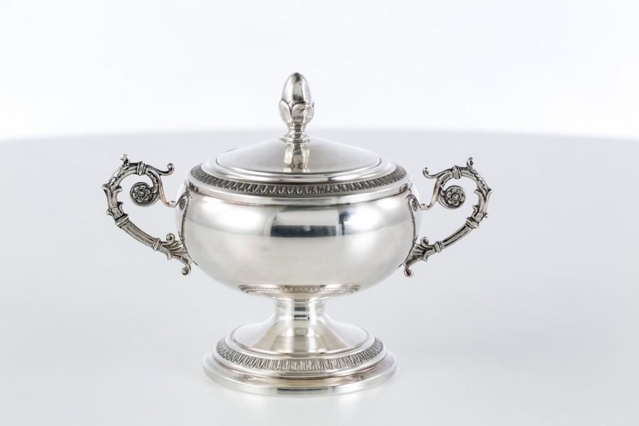 Cukiernica kryta 2-elementowa, srebrna, włoska – Neo Empire.