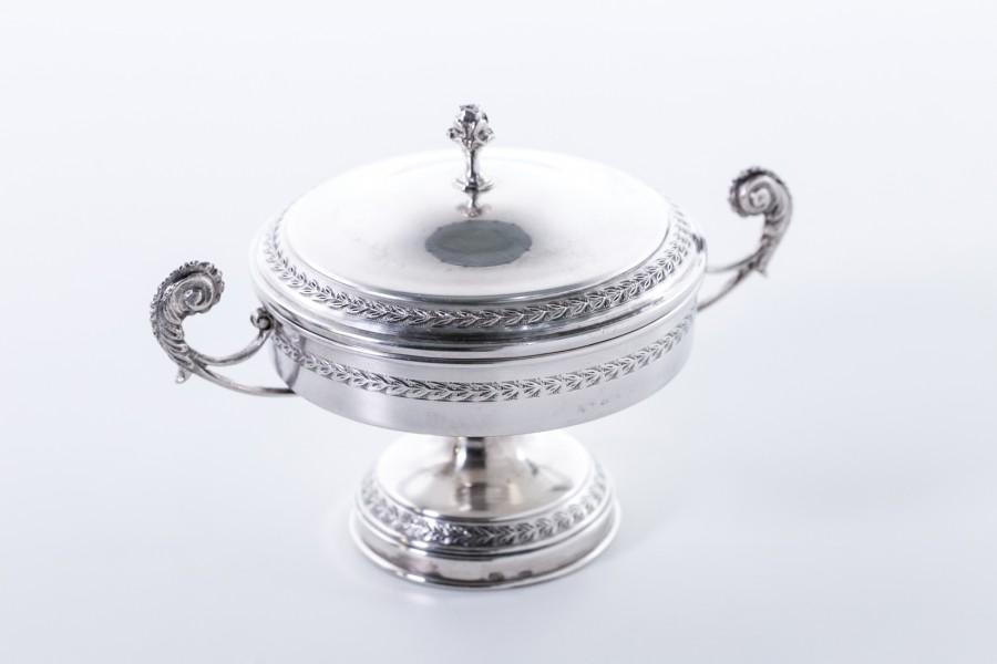 Cukiernica kryta 2-elementowa, srebrna, włoska – Neo Empire