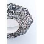 Patera okrągła, ażurowa, włoska, srebrna – neobarokowa