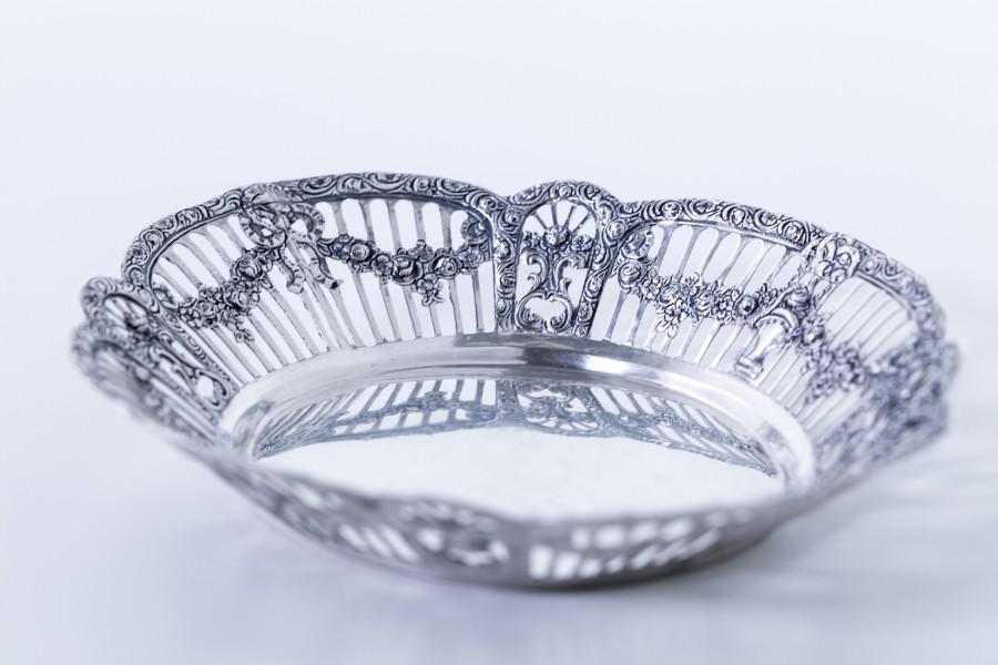 Paterka ażurowa,  filigranowa, srebrna,  Niemcy – klasycystyczna.