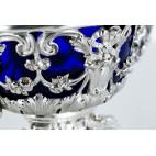 Cukiernica kryta Flamant & Fils, srebrna z wsadem kobaltowym Paryż - eklektyczna