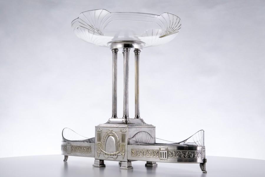 """Patera reprezentacyjna  Polonica, """"Bracia Henneberg""""  plater, kryształ – Art Deco."""
