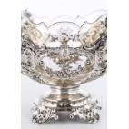 Patera z wkładem kryształowym 2-elementowa, srebrna, niemiecka – eklektyczna.