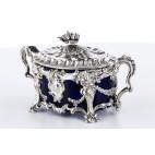 Cukiernica F.A.Debain kryta,  wsad ze szkła kobaltowego,  srebro, Paryż – eklektyczna.
