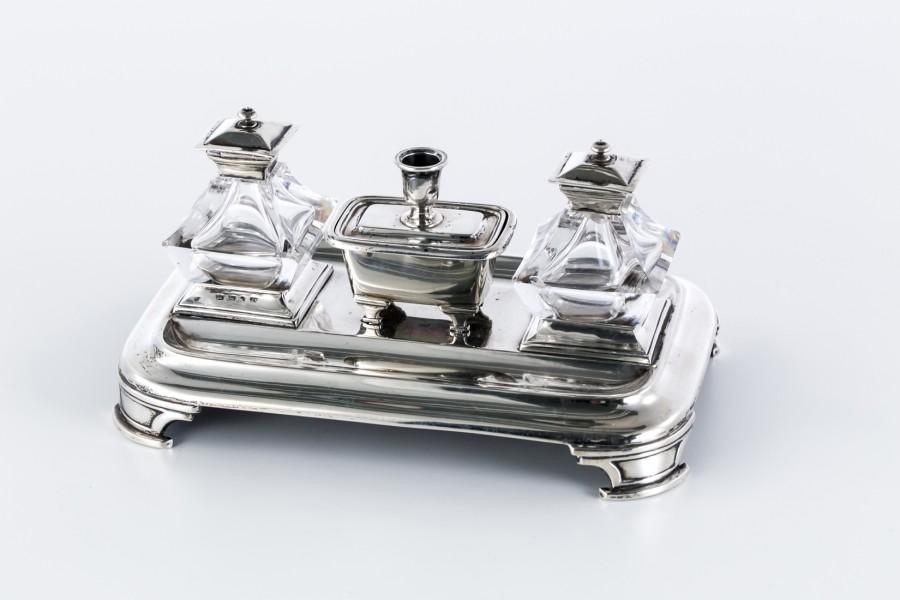 Kałamarz H.Wilkinson H W & Co, chińskie pagody, kryształowy, srebrny, Anglia – klasycystyczny