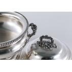 Waza obiadowa Robbe & Berking z pokrywą, duża, srebrna, Niemcy – klasycystyczna