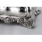 Szkatuła, cukiernica kryta, zamykana na kluczyk,luksusowa, srebrna, Niemcy – Biedermeier.