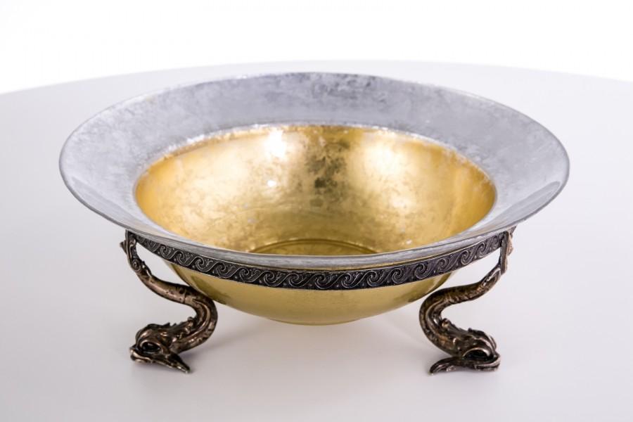 Żardiniera Casetti srebrno- kryształowa, czara srebrzona, złocona, Włochy – klasycyzm