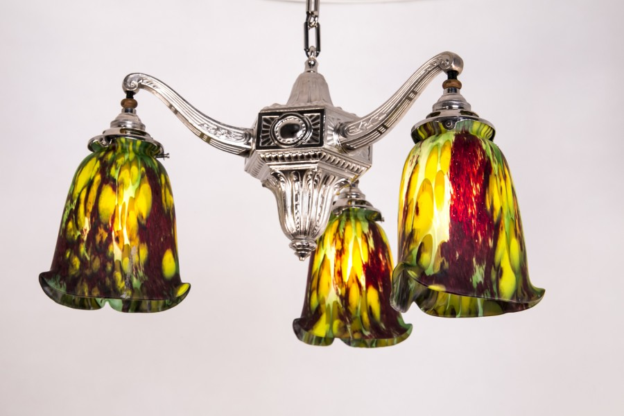 """Żyrandol typ """"Tulipan"""",  plater srebrzony, szkło warstwowe - eklektyczny."""