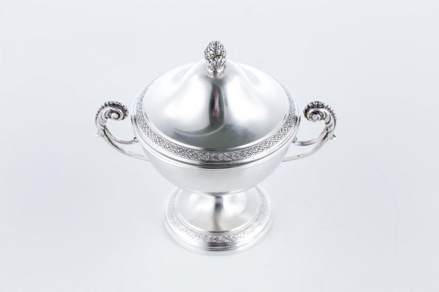 Cukiernica Peruggia & C. kryta, srebrna, Włochy  – neo empire