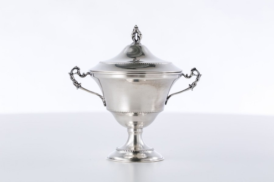 Cukiernica kryta, filigranowa srebrna, Włochy – neo empire