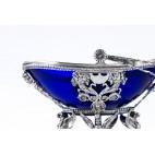 Cukiernica koszykowa otwarta, przestrzenna, wsad kobaltowy, srebrna, Niemcy - Neo Empire.