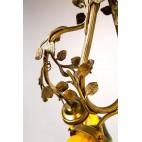 Żyrandol Frères Muller, Wiązanka Kwiatów Dzikiej Róży Złocony, Francja – secesyjny.