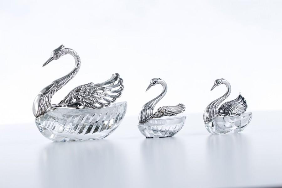 Komplet 3 łabędzi  na cukier i przyprawy, Niemcy srebrno-kryształowy – secesyjny