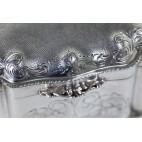 Cukiernica skrzynkowa kryta na zawiasach, Włochy srebrna, złocona – eklektyczna