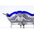 Żardiniera Georg Roth  z wkładem ze szkła kobaltowego srebrna, Niemcy – klasycyzm