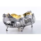 Żardiniera reprezentacyjna z wkładem złoconym, srebrna Francja – neobarokowa