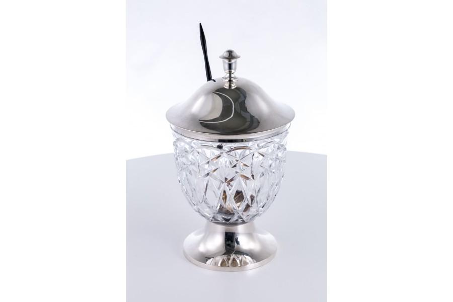 Bola Theodore Muller kryształowa z chochelką  srebrna, heban – eklektyczna