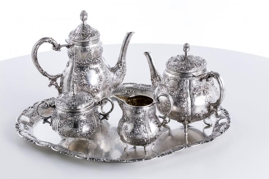 Serwis kawowo-herbaciany, 5-elementowy, Niemcy, srebrny – klasycystyczny.