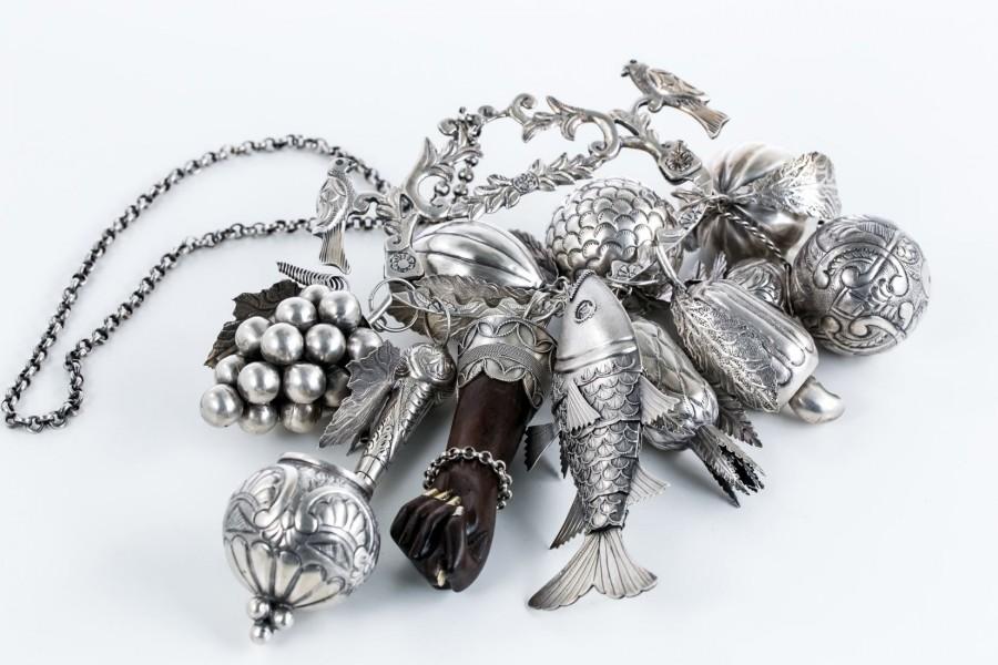 Balangandan Brazylia/Afryka, Amulet Gerson Bahia, srebro i heban – sztuka świata
