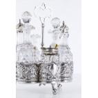 Cruette Joseph Rodgers & Sons, 9 e.garnitur do przypraw,szkło srebrno, Anglia – neorokokowy