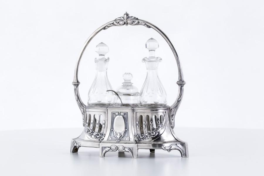 Cruette Otto Wolter garnitur 5 e. na przyprawy, szklany, srebrny, Niemcy – klasycyzm