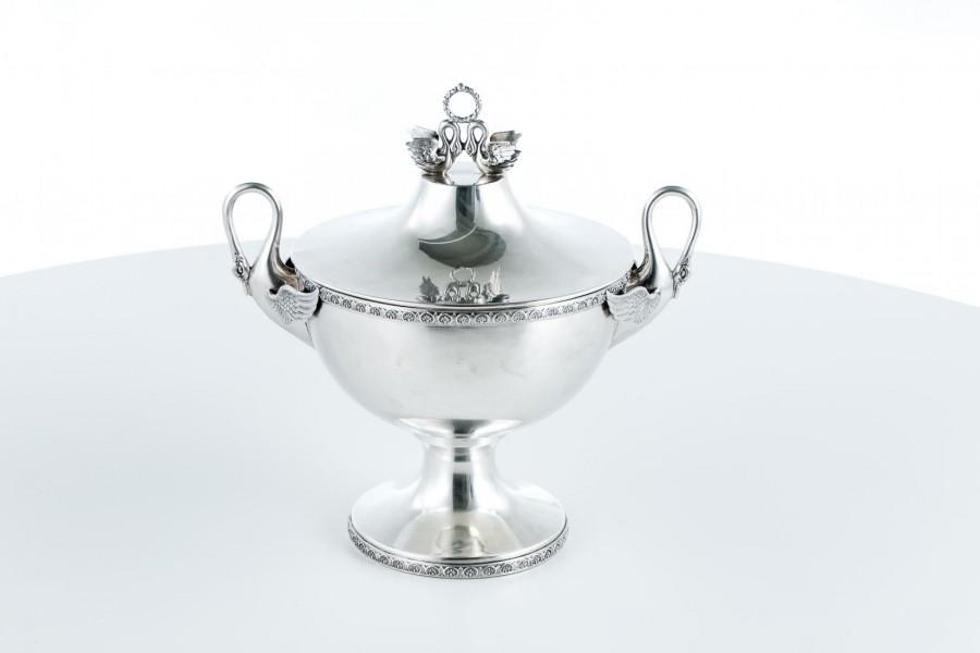 Waza/Pokala kryta z pokrywą, srebrna, Włochy – neo empirowa