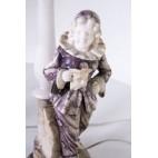 Komplet 2 lampek bliźniaczych  marmurowych z Pierrot,  Pan/Pani, Włochy – art deco.