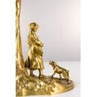Lampka Karl Radetzky  z pastuszką i psem, Wiedeń,  brąz złocony – secesyjna.