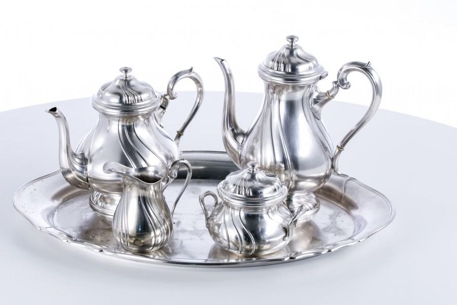 Zestaw Quist kawowo-herbaciany komplet 5-elementowy  alpacca, Niemcy – art deco.