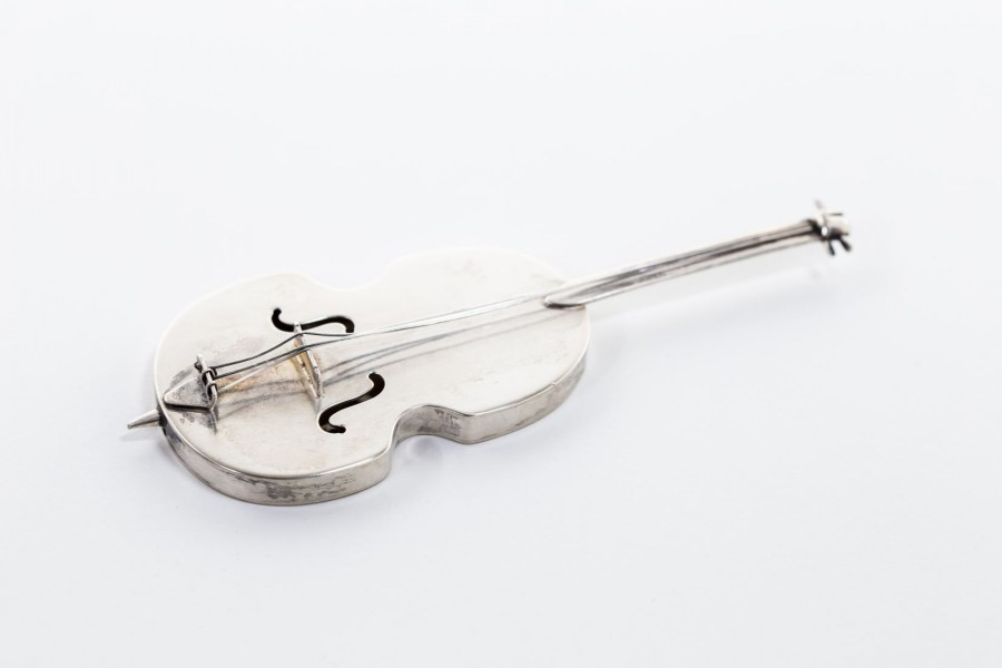 Srebrna miniaturka  wiolonczeli/kontrabasu, Włochy - sztuka świata / modernizm.