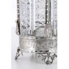 Kryształowa karafka  z korkiem, zakuta w srebro, Włochy - postmodernistyczna.