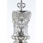 Dzban kryształowy na wino,  zakuty w srebro, Niemcy - eklektyczny.